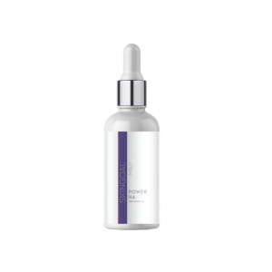 Power HA serum silver and white bottle
